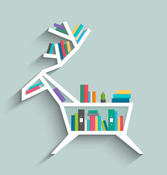 Bookshelf in form of deer with colorful books vector