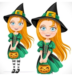 Little girl dressed as a witch with pumpkin vector