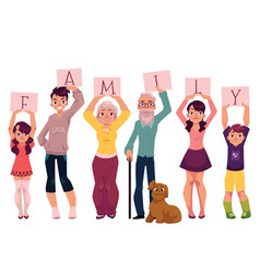 Grandparents and grandchildren holding word family vector