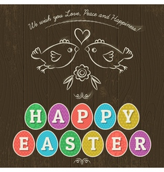 Greetings card for easter day with eleven colored vector