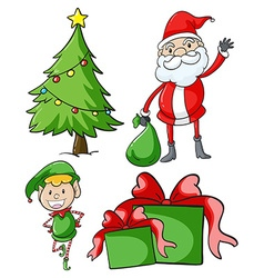 Santa and elf by the christmas tree vector