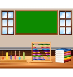 Classroom with board and books vector