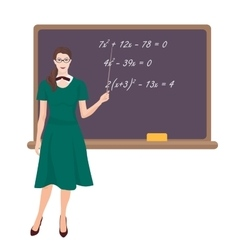 Young teacher woman in costume near the desk on vector