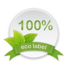 Eco label green leaves ribbon vector