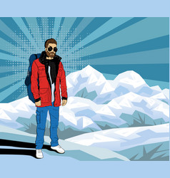 Bearded hipster man on the top of rock pop art vector
