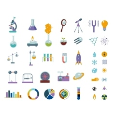 Big science icons set Isolated on white lab vector image