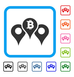 Bitcoin map pointers framed icon vector