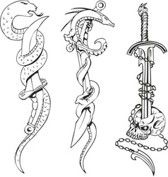 Blades with snakes and skull vector