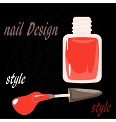 Bottle nail polish on the black background vector
