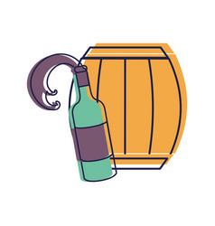 Bottle splashing wine with barrel vector