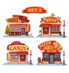 Candy Pets shop Pizzeria and barbershop vector image vector image