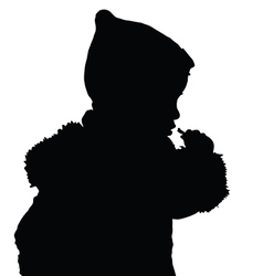 Child eating silhouette vector