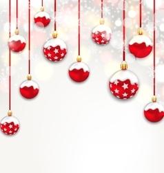 Christmas Red Glassy Balls on Shimmering Light vector image vector image