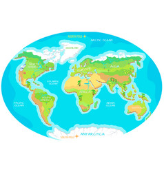 Continents oceans on map of world our planet vector