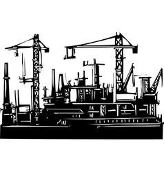 Docks and cranes vector