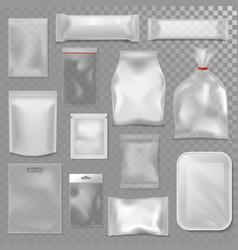 Empty plastic bag package mockup transparent pack vector