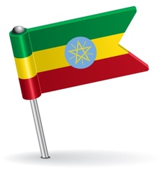 Ethiopian pin icon flag vector image vector image