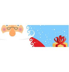 face santa claus and snow portrait of grandfather vector image
