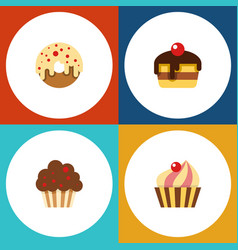 Flat cake set of doughnut muffin dessert and vector