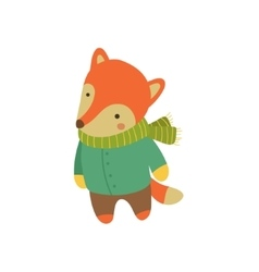 Fox In Green Warm Coat Childish vector image vector image