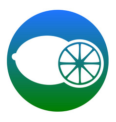 fruits lemon sign white icon in bluish vector image