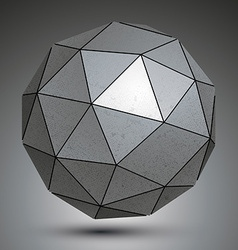 Galvanized facet 3d sphere metal abstract object vector