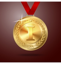 Golden first place medal with red ribbon vector image vector image