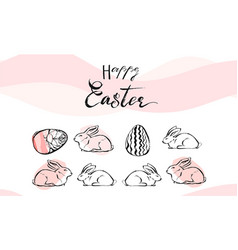 Hand drawn abstract collage with easter vector