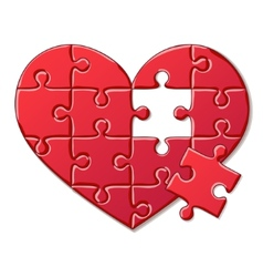 Heart puzzle isolated on white background vector