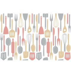 kitchen utensils and cutlery pattern vector image vector image