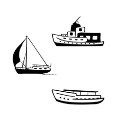 Ocean transport set yacht motor boats vector