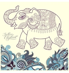 original stylized ethnic indian elephant pattern vector image