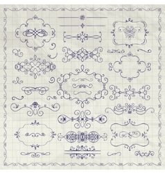 Pen drawing decorative vintage design vector
