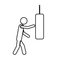 Person knocking punching bag vector