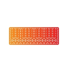 Piano keyboard sign orange applique isolated vector
