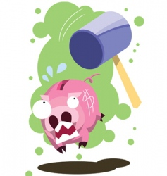 pig hit by hammer vector image vector image