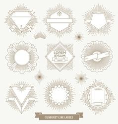 Set of line design emblem and hipster labels vector image
