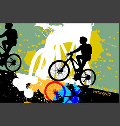 Silhouette woman ride bicycle scene vector