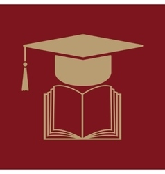 The graduation cap and book icon school and vector