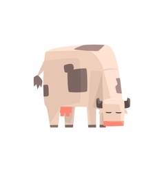 Toy simple geometric farm cow browsing funny vector
