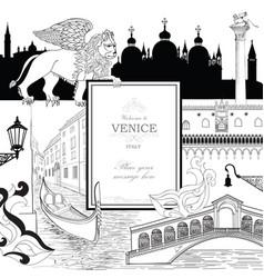 Venice city background tourist landmarks gondola vector
