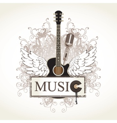 wings with guitar vector image