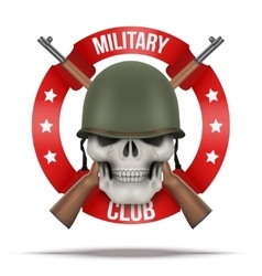 Symbol of military green helmet and skull vector