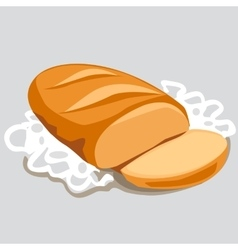 Fresh sliced loaf in a white napkin vector