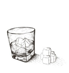 One glass with liquid and ice vector
