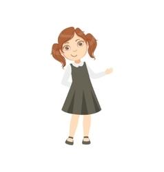 Girl In Black Dress Happy Schoolkid In School vector image