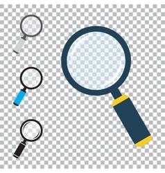 Magnifier flat icons set vector