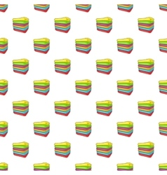 Stack of colored towels pattern cartoon style vector