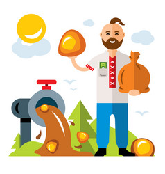 Amber extraction in ukraine flat style vector