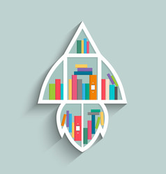 Bookshelf in form of rocket with colorful books vector